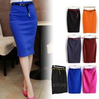 Wholesale 2015 NEW Hot sale Women Lady Office Candy Elastic Pencil High Waist Over Hip Skirt With Belt LS E1421 C2