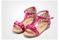 Wholesale Competitive Buckle Strap Girls Sandals Elegant PU Leather Childrens Sandals with Bows Hollow Out Ankle Wrap Design Sale T014