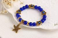 achat en gros de ancre bracelet étoile de mer-2,015 Dernières perles Conception Bracelet Starfish Owl Bracelet Pendentif Tendance main de Fatima Euro Coin Anchor
