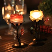 Wholesale iron glass candlestick Home Furnishing soft decoration rose candle holder for romantic candlelight dinner