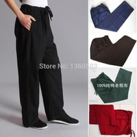 Wholesale cotton kung fu sports pants practise old coarse male tang suit breathable trousers Chinese traditiona tai chi leisure pants