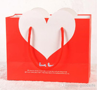 cardboard jewelry boxes - Heart White Cardboard Paper Bag Love Shopping Bags Size x270x120mm