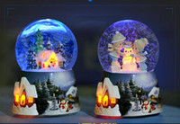 ball room dancing - Christmas crystal ball music box voice activated light snow globe rotating music boxes with snowflake and luminous