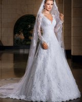 Wholesale 2015 Superior Materials Elegant Vintage A Line Lace Wedding dresses Long Sleeve V Neck Applique Beaded Wedding Bridal Gowns