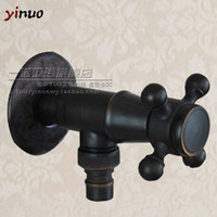 Wholesale Black antique full copper washing machine faucet black washing machine water faucet idyllic small European single cold faucet