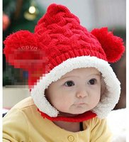 Wholesale Baby Girls Boys Hats Christmas Children Kids Winter Cotton Handmade Crochet Caps Earflaps Warmth Hat Camel Beige Pink Red Yellow K1898