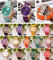 acrylic tags - 2016 Christmas Luxury Geneva watches Roman Numerals Watch Wrist watch Faux leather Colorful Candy Cute quartz Exquisite wrist For men womens