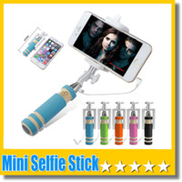 Wholesale Super Mini Wired Selfie Stick Handheld Portable Light Foam Monopod Fold Self portrait Stick Holder with Cable for Sansung S7 Edge iphone s