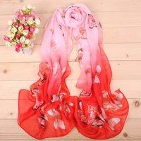 butterfly scarf silk - New Gradual color butterfly pattern chiffon long silk scarves cm DHL X076 Sales Paisley scarf