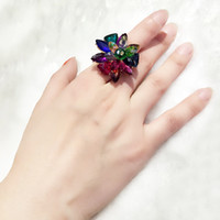 mens jewelry cheap - YAL Jewelry Colorful Crystal Flower Cheap Mens Rings Charms Unisex Wedding Cluster Ring Fashion Vintage Jewelry Accessories Hot Sale