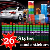 Wholesale 26 design Sound Rhythm Music Activated EL Equalizer Car decration Sticker Glow Flash Panel Multi Designs LED car music light