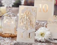 al por mayor invitaciones de boda imprimibles novias-La boda invitaciones personalizada Novia Tarjetas corte del laser invitaciones Tarjetas del nuevo diseño para imprimir con el sobre y el sello