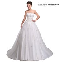 Wholesale 2015 Plus Size White Embroidery Wedding Dresses with Beading High Quality Backless Court Train Modern Satin Wedding Gown Real Images