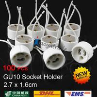 ceramic base - 100pcs By DHL EMS HOT SALE GU10 lamp holder socket base adapter Wire Connector Ceramic Socket for LED Halogen Light gu10 Bulbs Holder