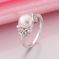 Wholesale Genuine Shell Pearl Ball Elegant Lady White Gold Wedding Jewelry rings r015 gift box New Fashion