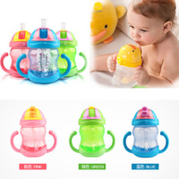 Wholesale 240ml Cute Baby Cups Kid Water Bottle Handle Children Learn Drinking Straw Bottle Sippy Training Cup copo com canudo Colors