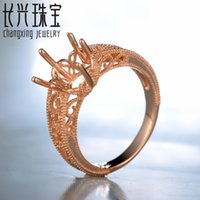 rose gold ring semi mount round - MM Round Semi Mount Engagement Ring Setting K Rose Gold for