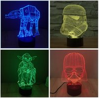 Wholesale High Quality D Star Wars Darth Vader Stormtrooper Yoda AT AT Night Lights Colorful LED Touch Switch Table Lamps Sleep Night Lights m1066