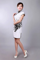 Wholesale Graceful Print Chinese Cheongsam High Collar Capped Short Sleeves Prom Dresses Mini Short Side Split Evening Dress