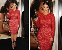 Cheap Kim Kardashian Long Sleeve Lace Celebrity Dresses Red Carpet 2015 Beauty Sheath Women Evening Cocktail Party Prom Gowns Custom New Arrival