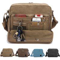 Wholesale 2015 New Men s Multi function Canvas Shoulder Briefcase Handbag Satchel Bags AB190