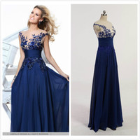 Wholesale In Stock Navy Blue Appliques Homecoming Dresses Illusion Sheer Back Prom Dresses Long Beaded Dresses Party Evening Real Picture