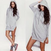 Wholesale Hot Sale Fashion Gray Irregular Long Women Fleeces High Quality Cotton Hooded Long Sleeves Long Lady Sweatshirts