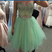 Cheap Mint Green Short Prom Dresses 2016 Vestidos de fiesta cortos Sweetheart Crystal Beaded Tulle Homecoming Party Dresses for Teens