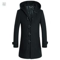 Wholesale long coat mens trench coat men wool hooded coat horn button woolen coat winter wool polyster men s coat