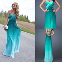 Wholesale 2015 Strapless Formal with Sparkling back A line Sweetheart ombre basket weave Floor length chiffon Prom Gowns