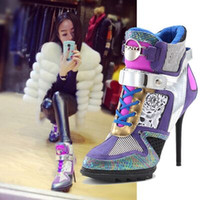 Wholesale Ladies Shoes High heels Spring New Leisure High heeled shoes Lace Round Mixed colors Fine with High shoes Wild boots