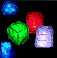 Wholesale 7Colors Flash Ice LED Party Lights Color Changing LED ice cubes Glowing Ice Cubes Blinking Flashing Novelty Party Supply Free DHL