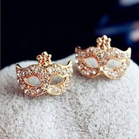 mask earrings - 2016 New Fashion Earrings Full Rhinestones Magic Mask Stud Earrings Stylish Gold Earrings for Women Girls