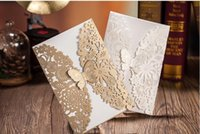 Wholesale Chinese luxury Wedding Invitations Cards Laser Cut Ivory Gold Personalized Customized Flower Hollow bride Accessories Cheap