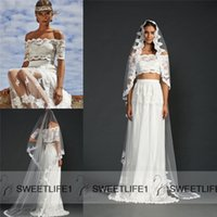 two piece wedding dress - Ivory Lace Two Pieces Wedding Dresses Off Shoulder Short Sleeves A Line Wedding Dresses Floor Length Custom Made Beach Bridal Gowns
