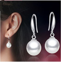 wholesale factory - A A A sterling silver mm pearl woman earring plated hot sale factory price