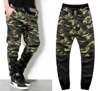 Men camouflage pants - New army fashion hanging crotch jogger pants patchwork harem pants men crotch big Camouflage pants trousers HOT