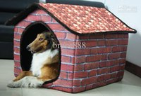 outdoor dog kennels - New Arrival Villas Large Warm Soft Oxford Winter Pet Dog Houses Can Washable Golden Satsuma Husky Dogs Antique Brick Pet Home Kennel Nest