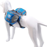 Wholesale Dog Saddle Bag Waterproof Backpack Polyester Blue with Convenient Pockets Padded Spine Support Large Size VC BP12006L