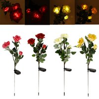 Wholesale Exquisite Powerfrugal Solar Power Water resistant Rose Flower LED Lamps Ni MH Battery Landscape for Garden House Decoration