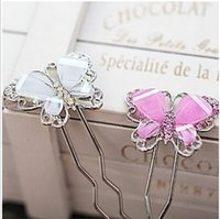 weathervane - Imitation alloy hair accessories diamond Korean sweet lady butterfly hairpin resin weathervane JW41