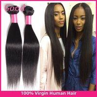 Bon Marché Extensions de cheveux naturels en ligne-Brésilienne Vierge Cheveux raides 3 Bundles Natural Black Brazilian Hair Weave Bundles, Non traité Brésilien de Vierge Extension de cheveux en ligne