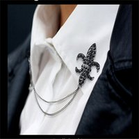 Wholesale New Arrival Men Brooch Full Crystal Rhinestone Chain Tassel Pin Broches Collar Badge Brooches Shirt Suit Fine Jewelry