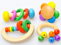 Wooden 2-4 Years Christmas Colourful Creative Semicircular Rainbow Hand Bell Rattles Wooden Toys Baby Shaking Toys For Children Newborn Enlighten