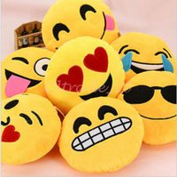 Wholesale 150pcs CCA3251 High Quality Emoji Smiley Emoticon Cushion Pillow Stuffed Toys Kids Pillows Household Plush Cushion Creative Soft Stuffed Toy