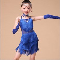 Wholesale 2015 Children s Latin dance dress girls fringed dress kids dance costumes dance clothing headwear earrings