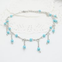 Wholesale 1pc Unique Nice Turquoise Beads Silver Chain Anklet Ankle Bracelet Tassels Foot Jewelry New F60SS0185 M1