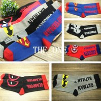 Wholesale The Avengers Cotton Men Socks Sport Men Superhero Meias Masculinas European Popular Unisex adult Cosplay superman batman Superheroes socks