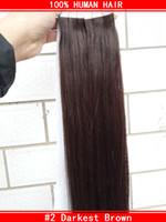 Extensions de cheveux de la trame de peau de PU d'extensions de cheveux de bande # 2 brun foncé 18''20''22''inch Livraison gratuite des cheveux vrais de gros bon marché