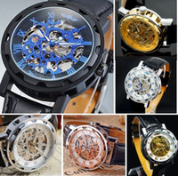 analog wedding bands - 25pcs colors Sharp Black Winner K Gold Titanium Luxury Skeleton Leather Band Wristwatch Men Wedding Business Suit Smart Dress Watches